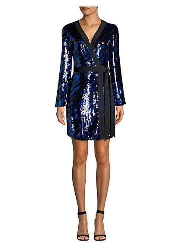 Rixo Maria Tiger Sequin Wrap Dress