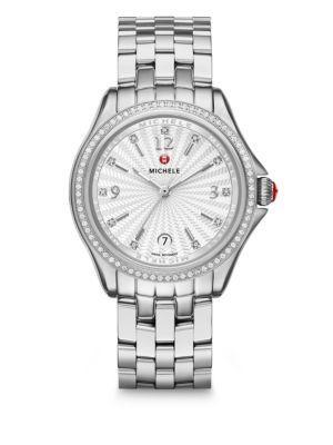 Michele Watches Sport Chronograph Diamond & Stainless Steel Bracelet Watch