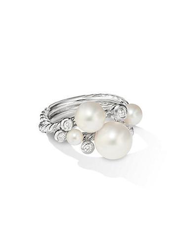 David Yurman Pearl & Diamond Cluster Ring