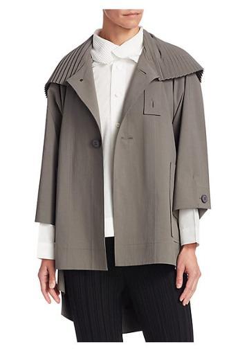 Issey Miyake Pleated Collar Short Coat