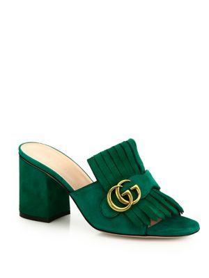 Gucci Marmont Gg Kiltie Suede Block Heel Mules