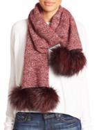 Portolano Fox Fur Pom-pom & Cashmere Scarf