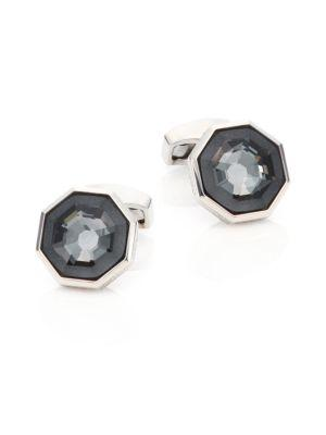 Tateossian Crystal & Sterling Silver Octagon Cuff Links