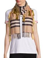 Burberry Tassel Giant Check Cashmere Scarf