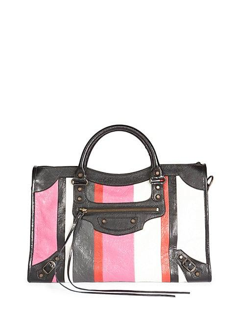 Balenciaga Classic City Stripe Leather Tote