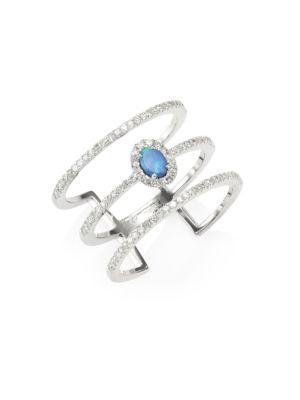 Meira T Pave Diamond, Opal & 14k White Gold Organic Ring