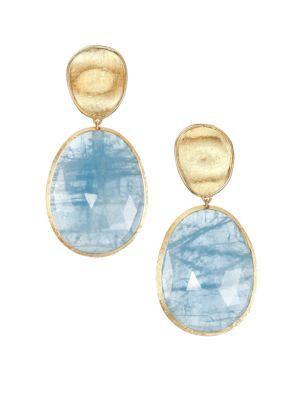 Marco Bicego Lunaria Aquamarine & 18k Yellow Gold Large Drop Earrings