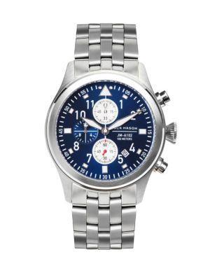 Jack Mason Aviation Stainless Steel Sunray Dial Bracelet Watch