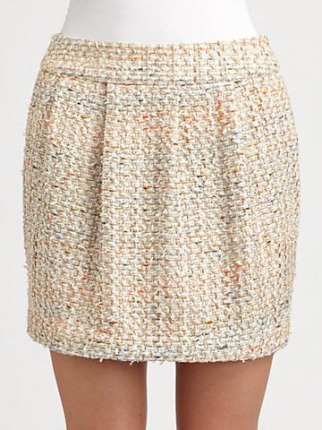 By Malene Birger Pleated Tweed Mini Skirt