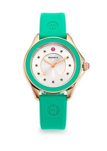 Michele Watches Cape Green Topaz, Goldtone Stainless Steel & Silicone Strap Watch