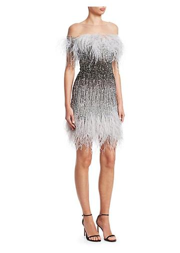Pamella Roland Ostrich Feather Sequin Embroidered Cocktail Dress