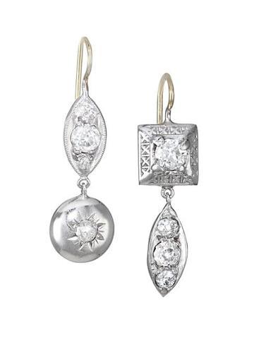 Renee Lewis 18k Two-tone Gold, Platinum & Antique Diamond Drop Earrings