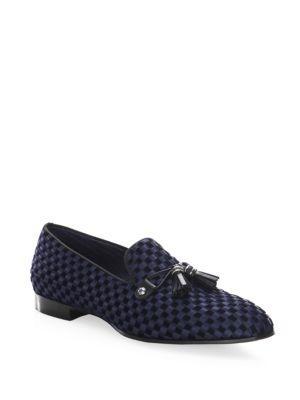 Louis Leeman Check Velvet Satin Slip-on Shoes