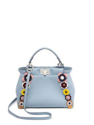 Fendi Peekaboo Floral-embellished Leather Handbag