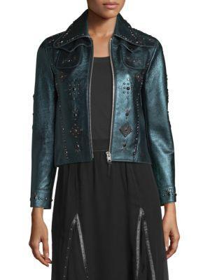 Coach Embellished Metallic Leather Jacket