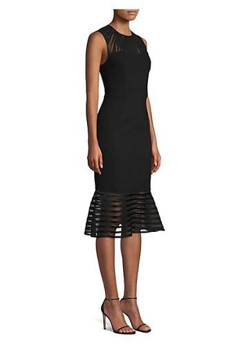 Elie Tahari Paris Sheer-striped Fit-&-flare Cocktail Dress
