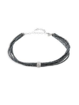 Meira T Hematite & 18k White Gold Beaded Necklace