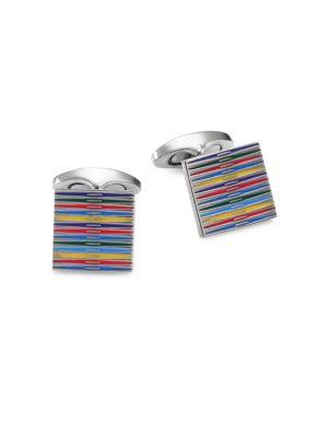 Tateossian Titanium Striped Cuff Links