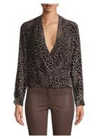L'agence Lydia Velvet Leopard Print Silk-blend Blouse