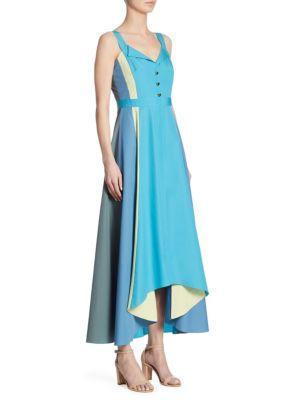 Peter Pilotto Paneled Cotton Midi Dress