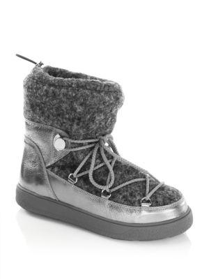 Moncler Ynnaf Lace Front Leather Sneaker Booties