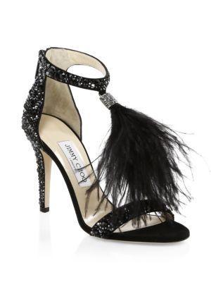 Jimmy Choo Viola Crystal & Ostrich Feather Stilettos