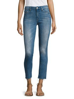 Mother Looker Frayed Ankle Distressed Skinny Jeans