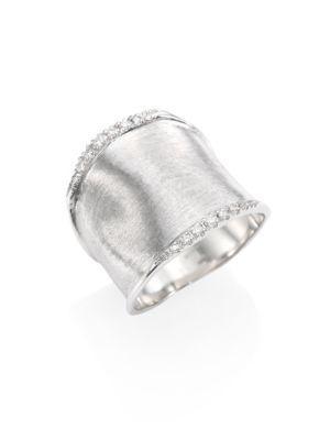 Marco Bicego Lunaria Medium Diamond & 18k White Gold Ring