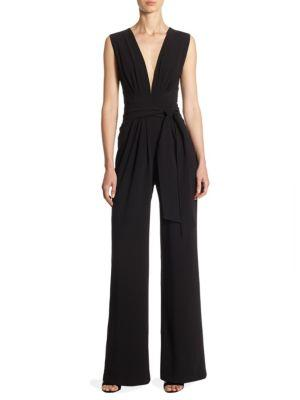 Halston Heritage Solid Sleeveless Jumpsuit