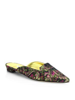 Manolo Blahnik Ruby Embroidered Point Toe Mules