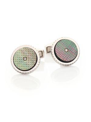 Tateossian Sartorial Diamond, Mother-of-pearl & Sterling Silver Cuff Links