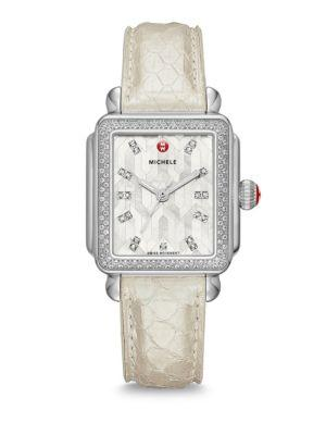 Michele Watches Deco Stainless Steel Mosaic Diamond Snakeskin Strap Watch