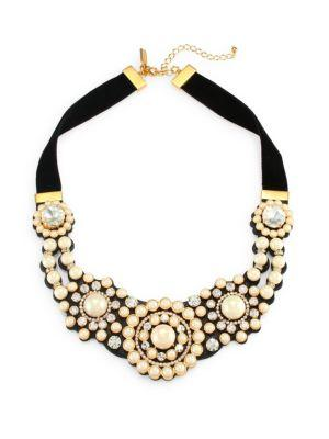 Kate Spade New York Velvet & Glass Pearl Statement Necklace