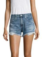 Ag Sadie High-rise Frayed Denim Shorts