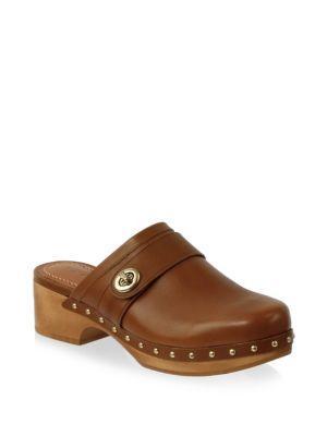 Coach Tunlock Leather Clog Sandals