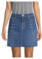 7 For All Mankind Denim Eyelet Mini Skirt