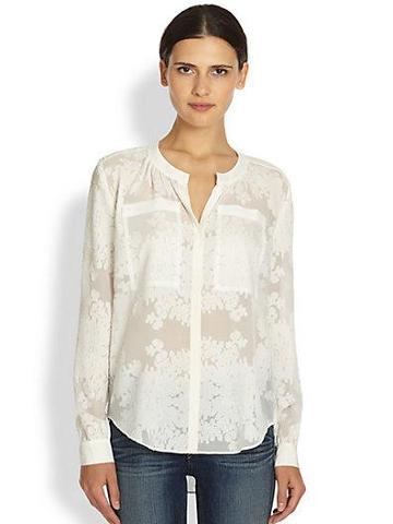 Rebecca Taylor Silk & Cotton Semi-sheer Floral-patterned Shirt