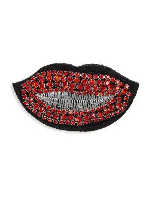 Scripted Embellished Lips Pin