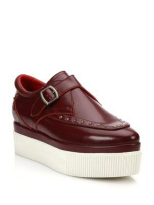 Konnie Embossed Leather Creeper Sneakers