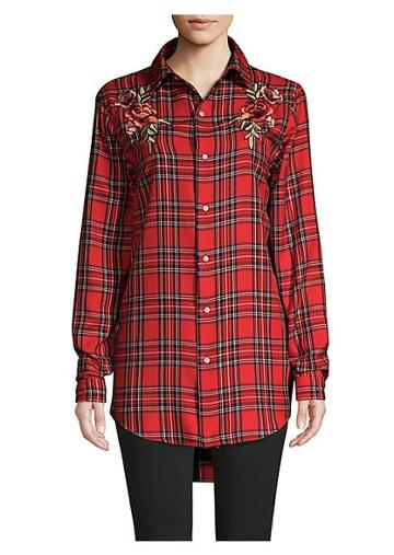 Kendall + Kylie Embroidered Plaid Shirt Dress