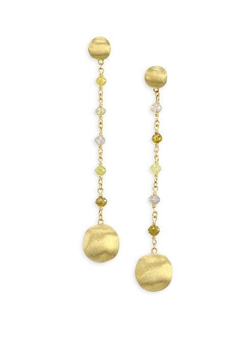 Marco Bicego Africa Multicolor Diamond & 18k Yellow Gold Long Drop Earrings