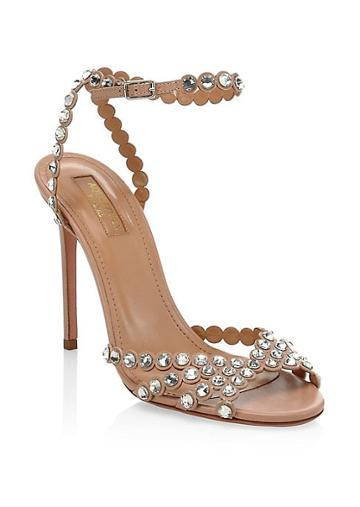 Aquazzura Tequila Crystal Studded Leather Sandals