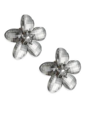 Kenneth Jay Lane Faceted Flower Clip Earrings