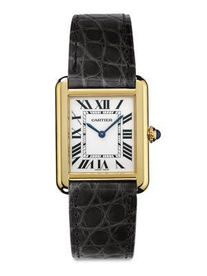 Cartier Tank Solo Small 18k Yellow Gold & Alligator Strap Watch
