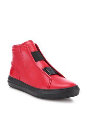 Salvatore Ferragamo Ground Hightop Calfskin Leather Sneakers