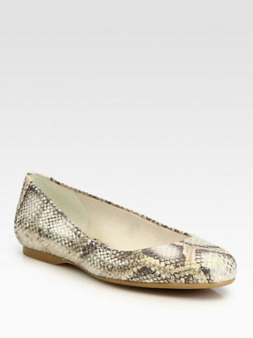 Stuart Weitzman Bambina Metallic Snake-print Leather Ballet Flats