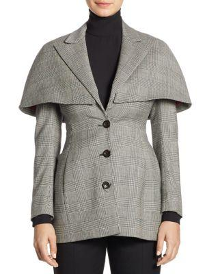 Sara Battaglia Fitted Wool-blend Cape Jacket
