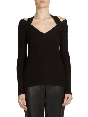 Cedric Charlier Ribbed Cold Shoulder Sweater