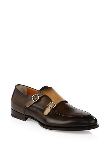 Santoni Leather Double Monk Strap Oxfords