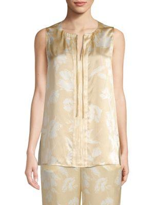 St. John Floral-print Silk Sleeveless Top